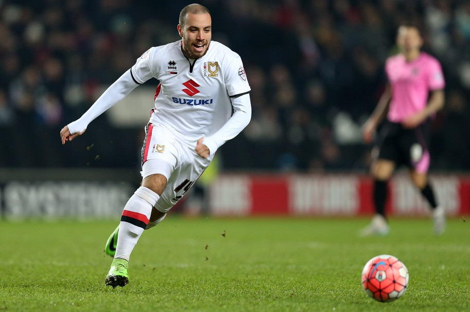 MILTON KEYNES, ENGLAND - JANUARY 19:  Samir Carruthers of Milton Keynes Dons in action during The Emirates FA Cup Third Round Replay match between Milton Keynes Dons and Northampton Town  at Stadium mk on January 19, 2016 in Milton Keynes, England.  (Photo by Pete Norton/Getty Images)