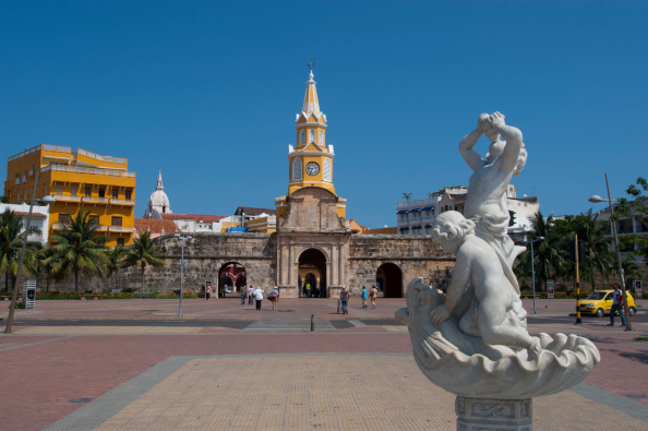 CARTAGENA, COLOMBIA - 2012/04/29: View of clock tower from Plaza de La Paz, in Cartagena, Colombia, a walled city, Unesco World Heritage Site. (Photo by Wolfgang Kaehler/LightRocket via Getty Images)