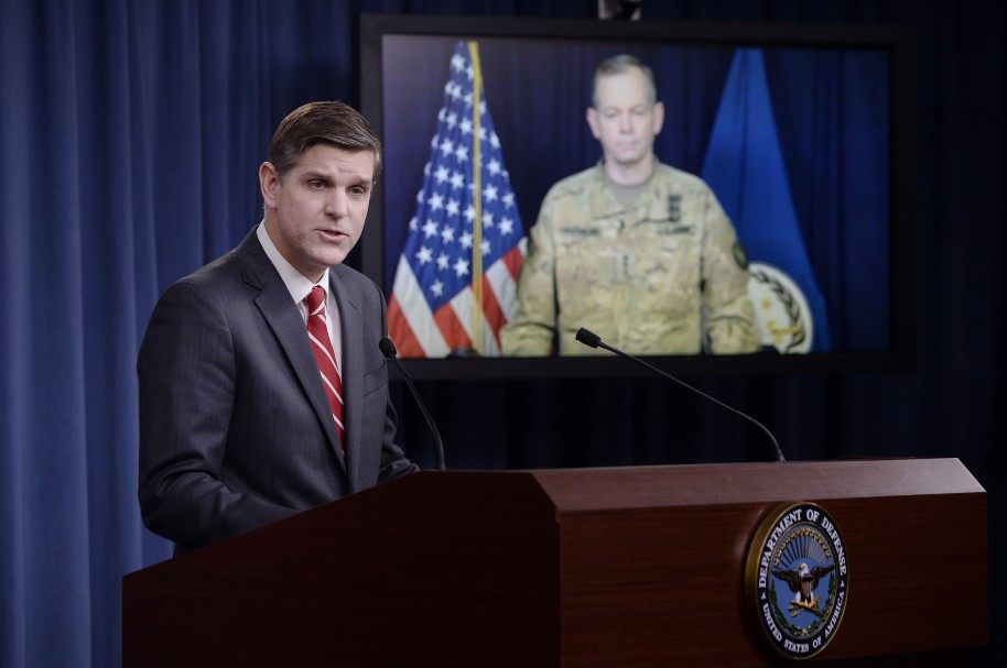 ARLINGTON, VA - FEBRUARY 1:  Pentagon Press Secretary Peter Cook speaks as Combined Joint Task Force Commander Army Lt. Gen. Sean MacFarland listens via teleconference from Baghdad, Iraq  during a media briefing at the Pentagon to update operations on Operation Inherent Resolve on February 1, 2016 in Arlington, Virginia. It was reported that U.S. and coalition military forces have continued to attack Islamic State of Iraq and the Levant terrorists in Syria and Iraq as part of Operation Inherent Resolve. (Photo by Olivier Douliery/Getty Images)