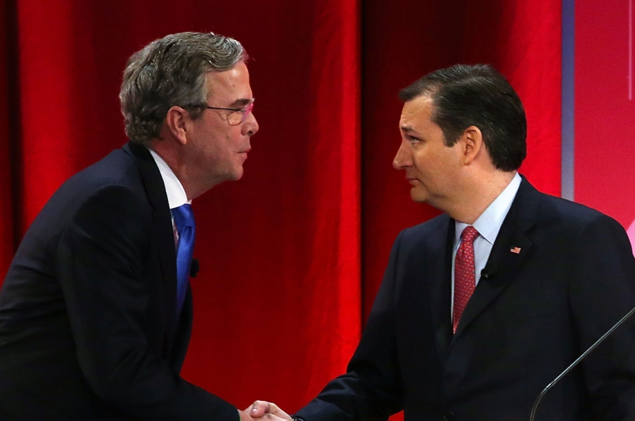 GREENVILLE, SC - FEBRUARY 13:  Republican presidential candidates (L-R) Jeb Bush shakes hands with Sen. Ted Cruz (R-TX) after a CBS News GOP Debate February 13, 2016 at the Peace Center in Greenville, South Carolina. Residents of South Carolina will vote for the Republican candidate at the primary on February 20.  (Photo by Spencer Platt/Getty Images)
