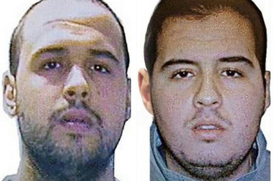 """(COMBO) This combination of handout pictures obtained via Interpol on March 23, 2016 shows Khalid (L) and Ibrahim (R) El Bakraoui, the two Belgian brothers identified as the suicide bombers who struck Brussels on March 22, 2016, as a manhunt for a third assailant in Belgium's bloodiest terror assault gained pace.  Two suicide blasts hit Brussels' Zaventem airport on March 22, 2016 morning followed soon after by a third on a train at Maalbeek station, close to the European Union's institutions, just as rush-hour commuters were heading to work. The triple blasts that killed some 30 people and left around 250 injured was claimed by the Islamic State jihadist group. / AFP / Interpol / - / RESTRICTED TO EDITORIAL USE - MANDATORY CREDIT """"AFP PHOTO / INTERPOL- NO MARKETING NO ADVERTISING CAMPAIGNS - DISTRIBUTED AS A SERVICE TO CLIENTS"""