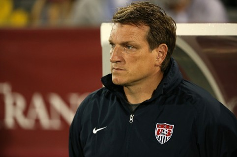 COMMERCE CITY, CO - OCTOBER 06:  Head coach Andreas Herzog prepares to lead the United States against Panama during 2015 CONCACAF Olympic Qualifying at Dick's Sporting Goods Park on October 6, 2015 in Commerce City, Colorado. The United States defeated Panama 4-0.  (Photo by Doug Pensinger/Getty Images)