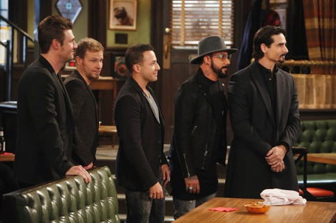 """UNDATEABLE -- """"The Backstreet Boys Walk Into a Bar"""" Episode 312/313A -- Pictured: (l-r) Nick Carter, Brian Littrell, Howie Dorough, A. J. McLean, Kevin Richardson of the Backstreet Boys -- (Photo by: Adam Rose/NBC)"""