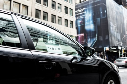 A close-up of uber car service on 5th Ave in NYC, USA