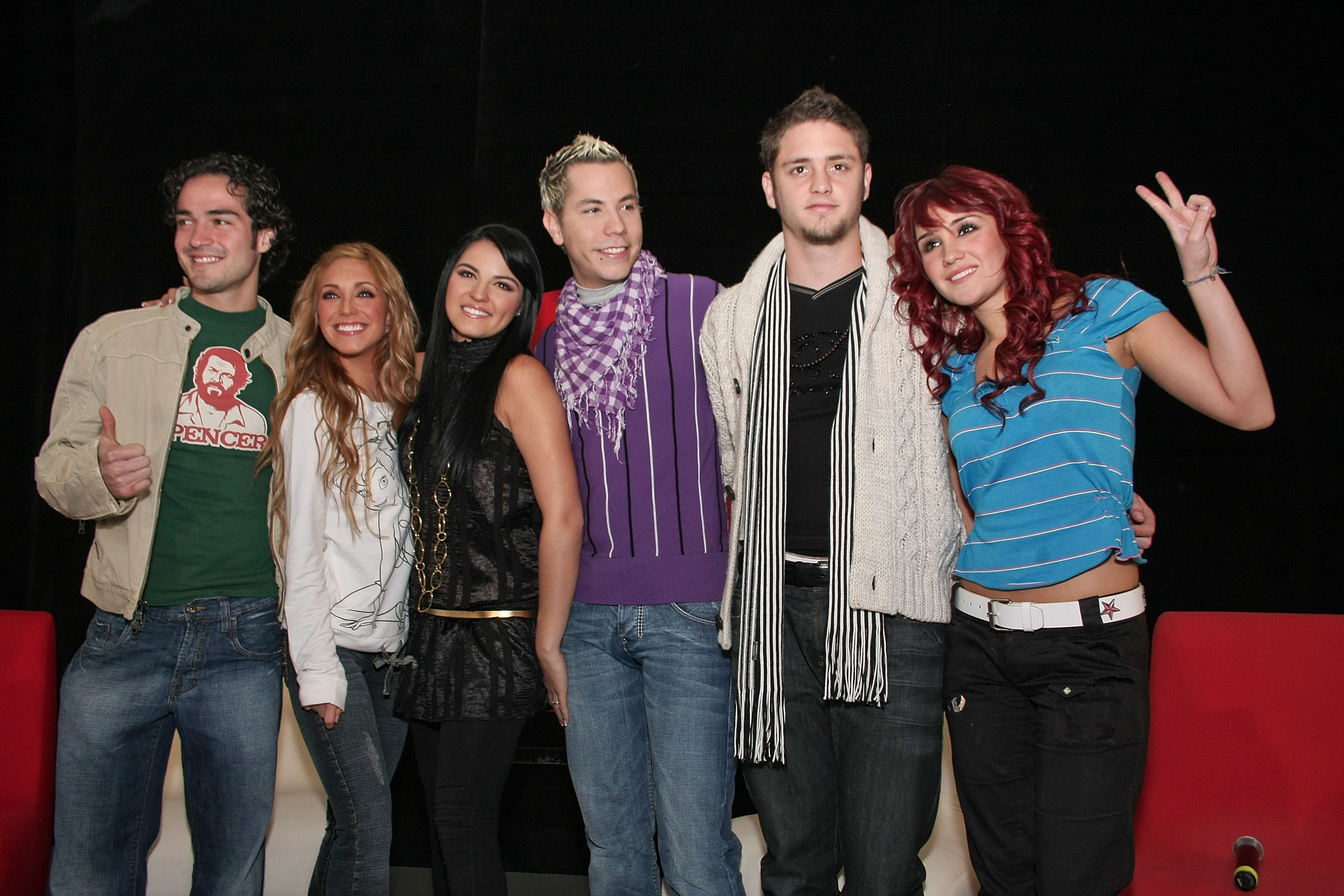 """MEXICO CITY - NOVEMBER 27: Alfonso Herrera,Anahi,Maite Perroni,Christian Chavez,Christopher Uckermann and Dulce Maria of RBD attends a press conference to announce their new album """"Empezar Desde Cero"""" held at EMI Music on November 27, 2007 in Mexico City. (Photo by Victor Chavez/WireImage)"""