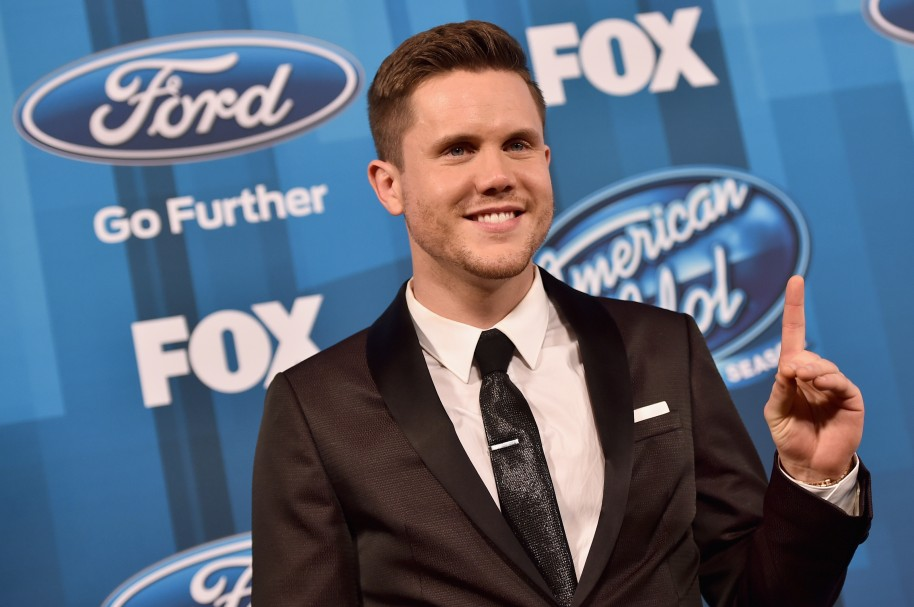 """poses in the pressromm at FOX's """"American Idol"""" Finale For The Farewell Season at Dolby Theatre on April 7, 2016 in Hollywood, California.at Dolby Theatre on April 7, 2016 in Hollywood, California."""
