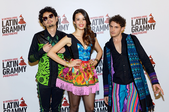 LAS VEGAS, NV - NOVEMBER 19: (L-R) Recording artists Nicolas Junca, Catalina Garcia and Santiago Sarabia of music group Monsieur Perine attend the 16th Latin GRAMMY Awards at the MGM Grand Garden Arena on November 19, 2015 in Las Vegas, Nevada. (Photo by Bryan Steffy/WireImage)