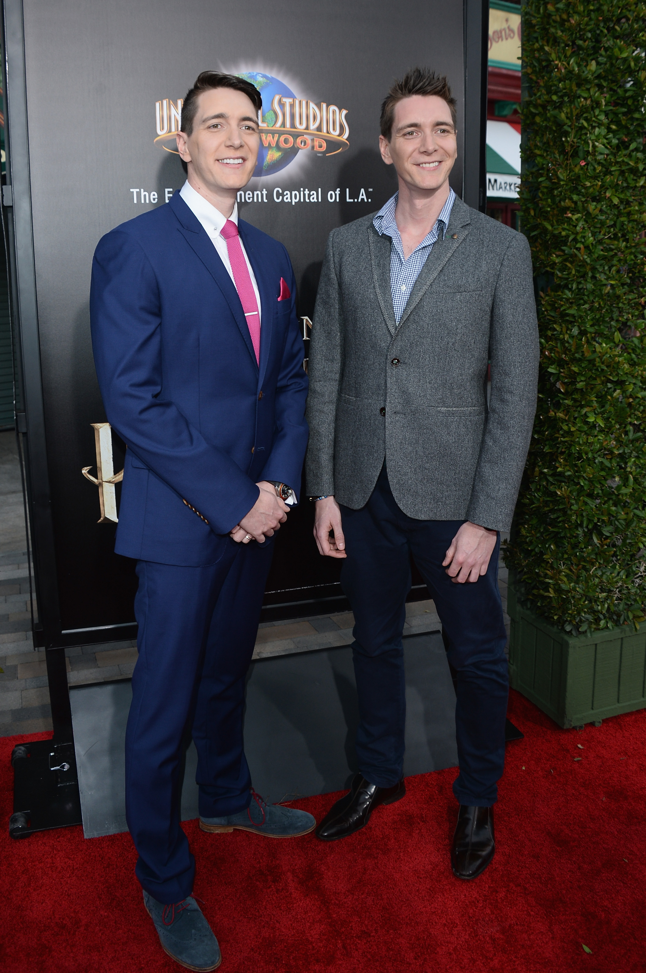 "UNIVERSAL CITY, CALIFORNIA - APRIL 05: Actors Oliver Phelps and James Phelps attend Universal Studios' ""Wizarding World of Harry Potter Opening"" at Universal Studios Hollywood on April 5, 2016 in Universal City, California. (Photo by Matt Winkelmeyer/Getty Images)"