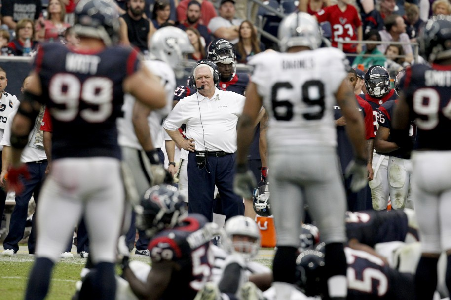 HOUSTON, TX- NOVEMBER 17: Houston Texans defensive coordinator Wade Phillips watches the Houston Texans defense against the Oakland Raiders on November 17, 2013 at Reliant Stadium in Houston, Texas. Raiders won 28 to 23.  Thomas B. Shea/Getty Images/AFP