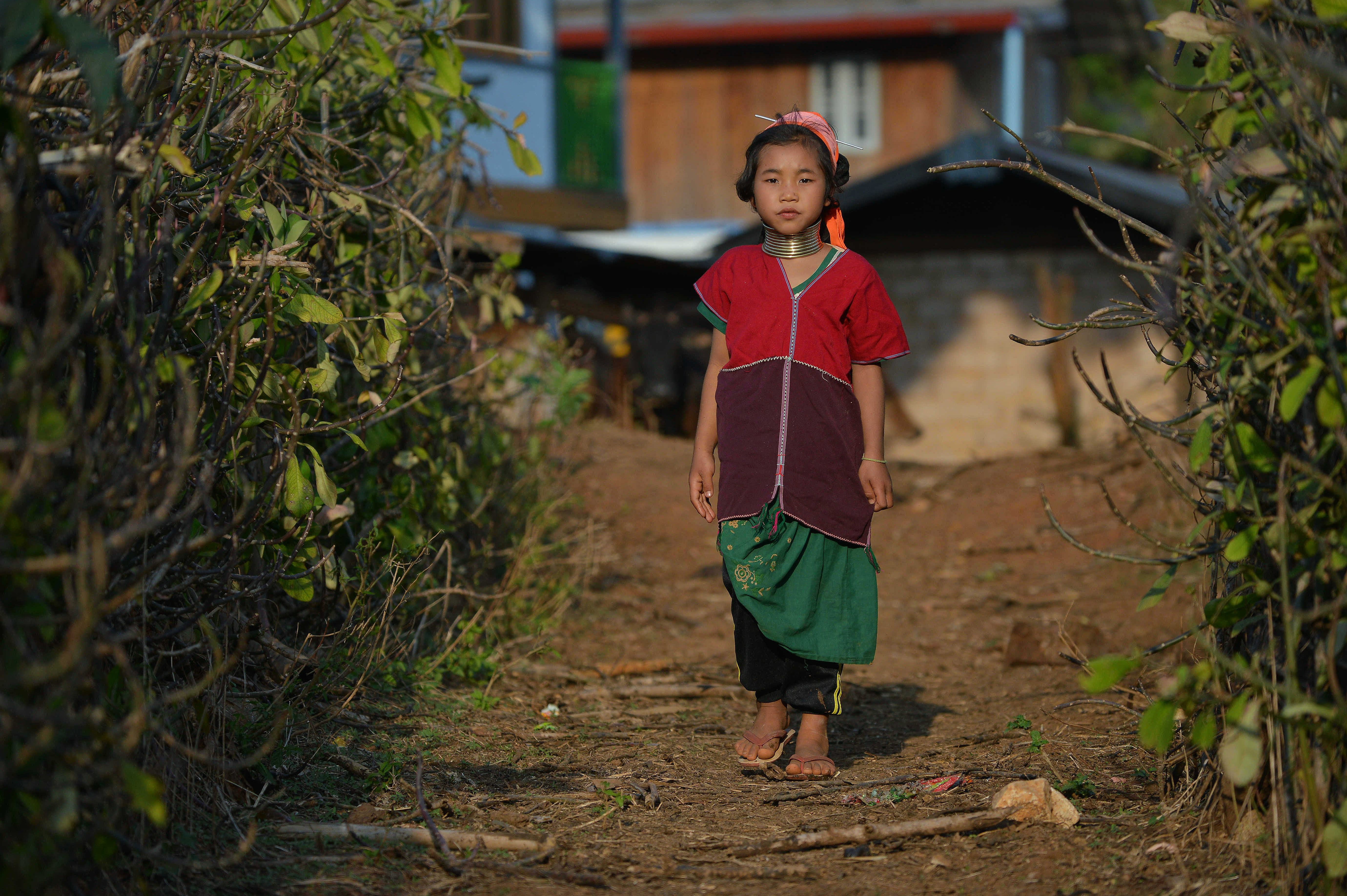 """In this picture taken on March 6, 2016 a Kayan tribesgirl wearing a stack of bronze neck coils -- the statuesque sign of beauty of her Kayan tribe -- walks in Panpet village located in Demoso township in Kayah state, central Myanmar. For years Kayan women and girls have been driven across the border by poverty and conflict to pose in holidaymakers' pictures in purpose-built Thai villages, decried by campaigners as """"human zoos"""" that exploit a vulnerable minority. / AFP PHOTO / PHYO HEIN KYAW / TO GO WITH AFP STORY: Myanmar-Thailand-tourism-leisure-culture, FEATURE by Phyo Hein Kyaw"""