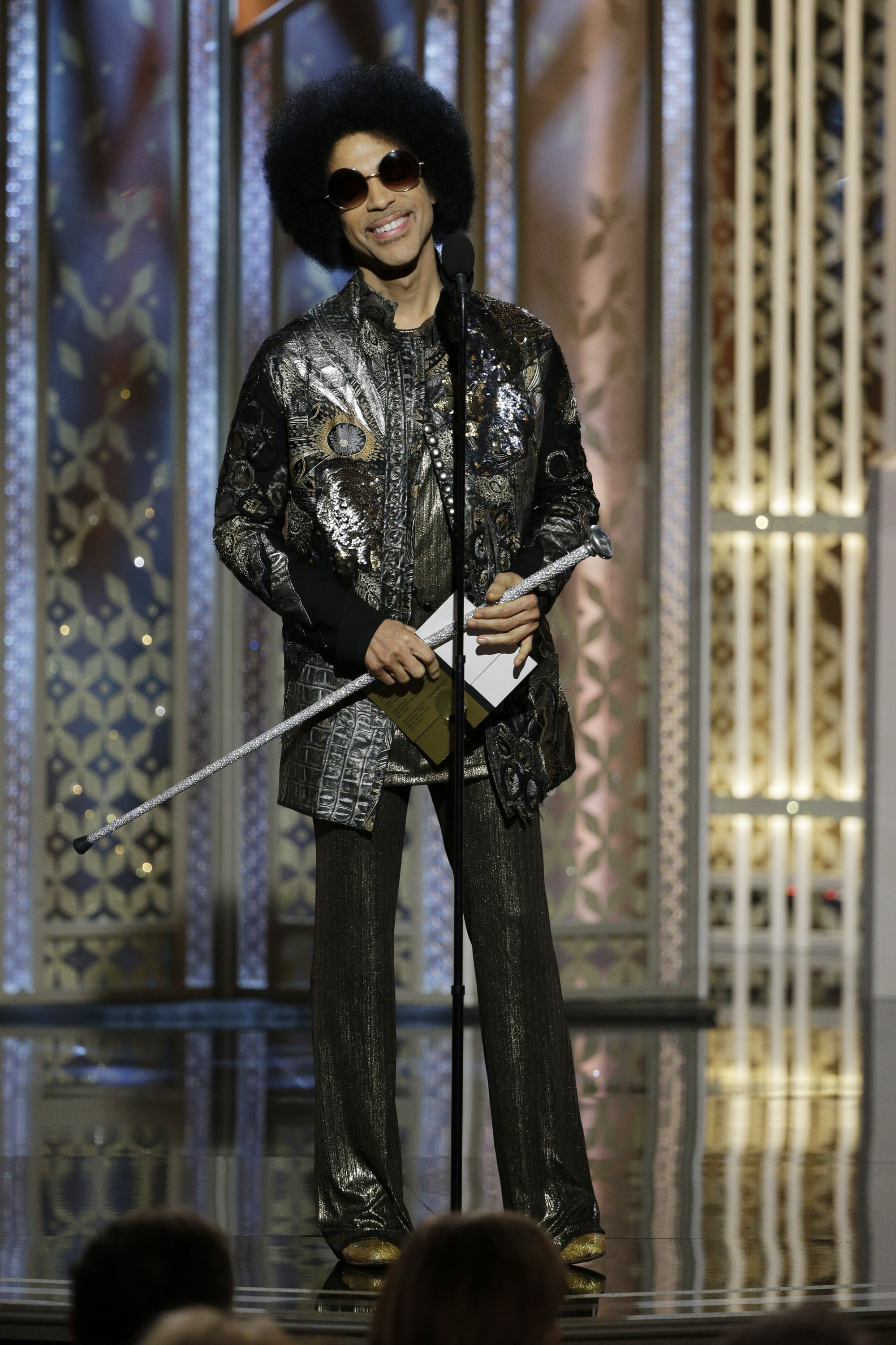 72nd ANNUAL GOLDEN GLOBE AWARDS -- Pictured: Prince, Presenter at the 72nd Annual Golden Globe Awards held at the Beverly Hilton Hotel on January 11, 2015 -- (Photo by: Paul Drinkwater/NBC)