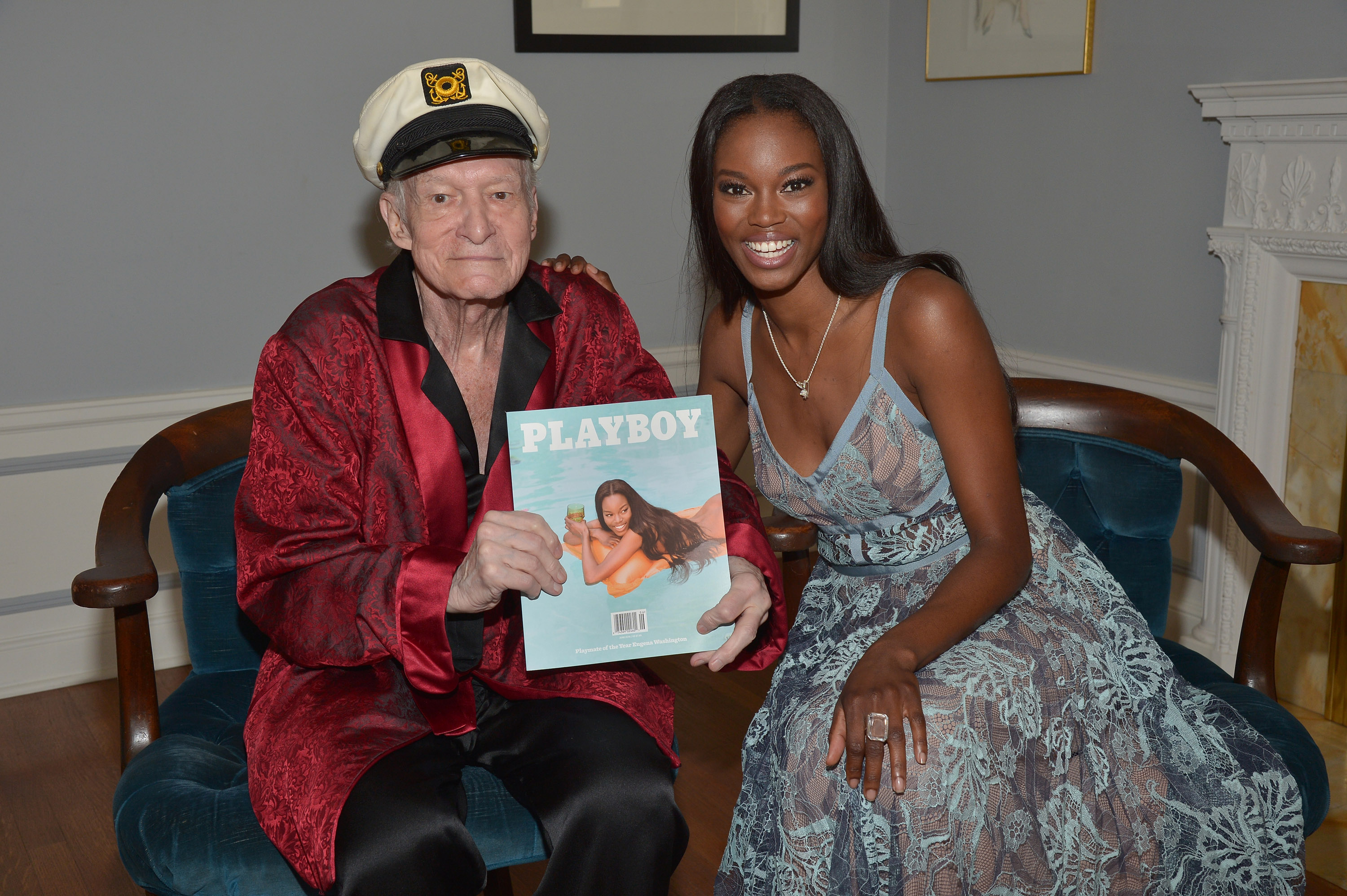 LOS ANGELES, CA - MAY 11: Playboy Founder and Editor-In-Chief Hugh M. Hefner poses with 2016 Playmate of the Year Eugena Washington at Playboy's 2016 Playmate of the Year Announcement at the Playboy Mansion on May 11, 2016 in Los Angeles, California. (Photo by Charley Gallay/Getty Images for Playboy)