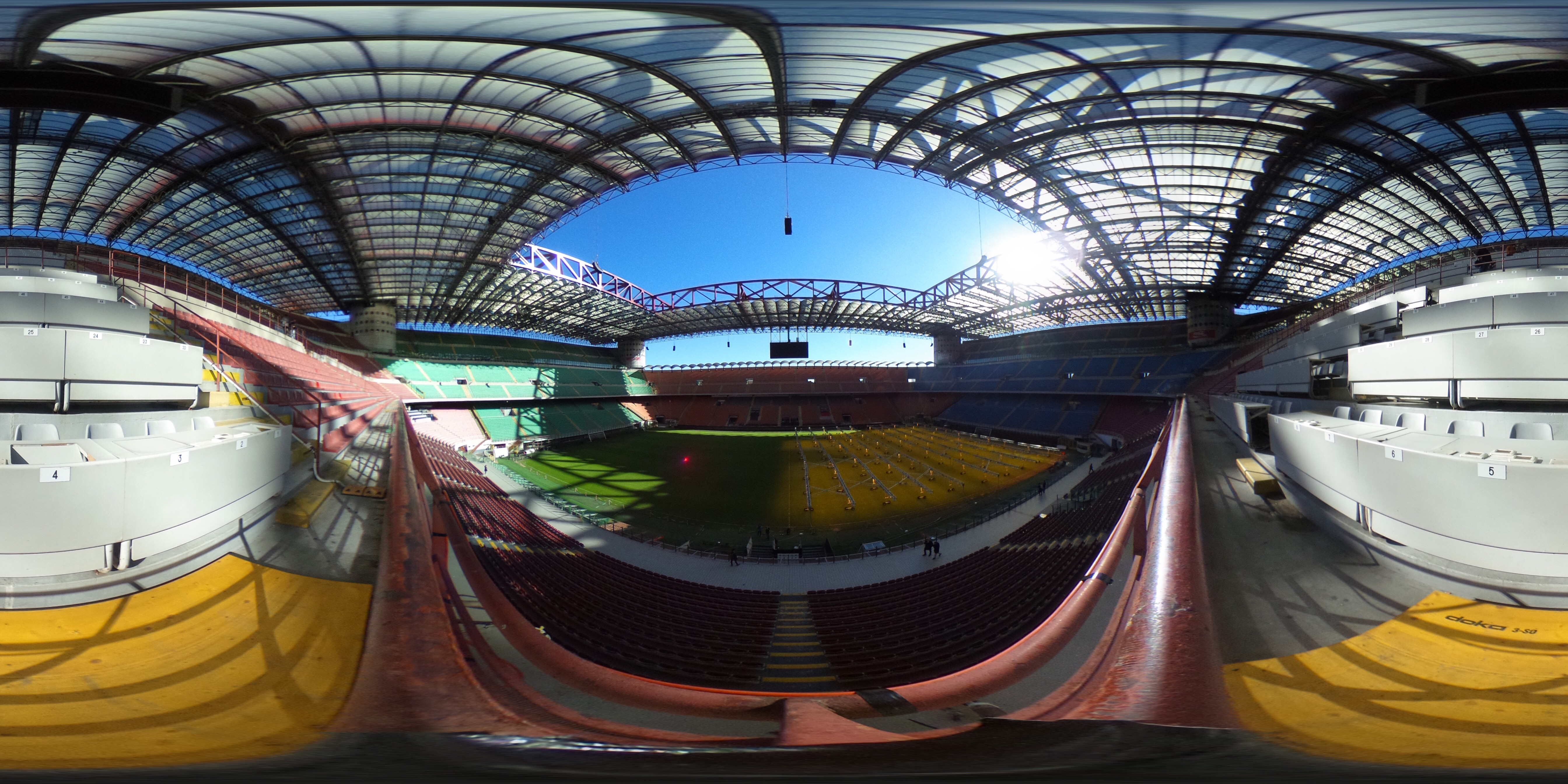 MILAN, ITALY - FEBRUARY 10: (EDITOR'S NOTE: Image was created as an Equirectangular Panorama. Import image into a panoramic player to create an interactive 360 degree view.) General view of the inside of the Stadio Giuseppe Meazza (San Siro) on February 10, 2016 in Milan, Italy. (Photo by Shaun Botterill/Getty Images)