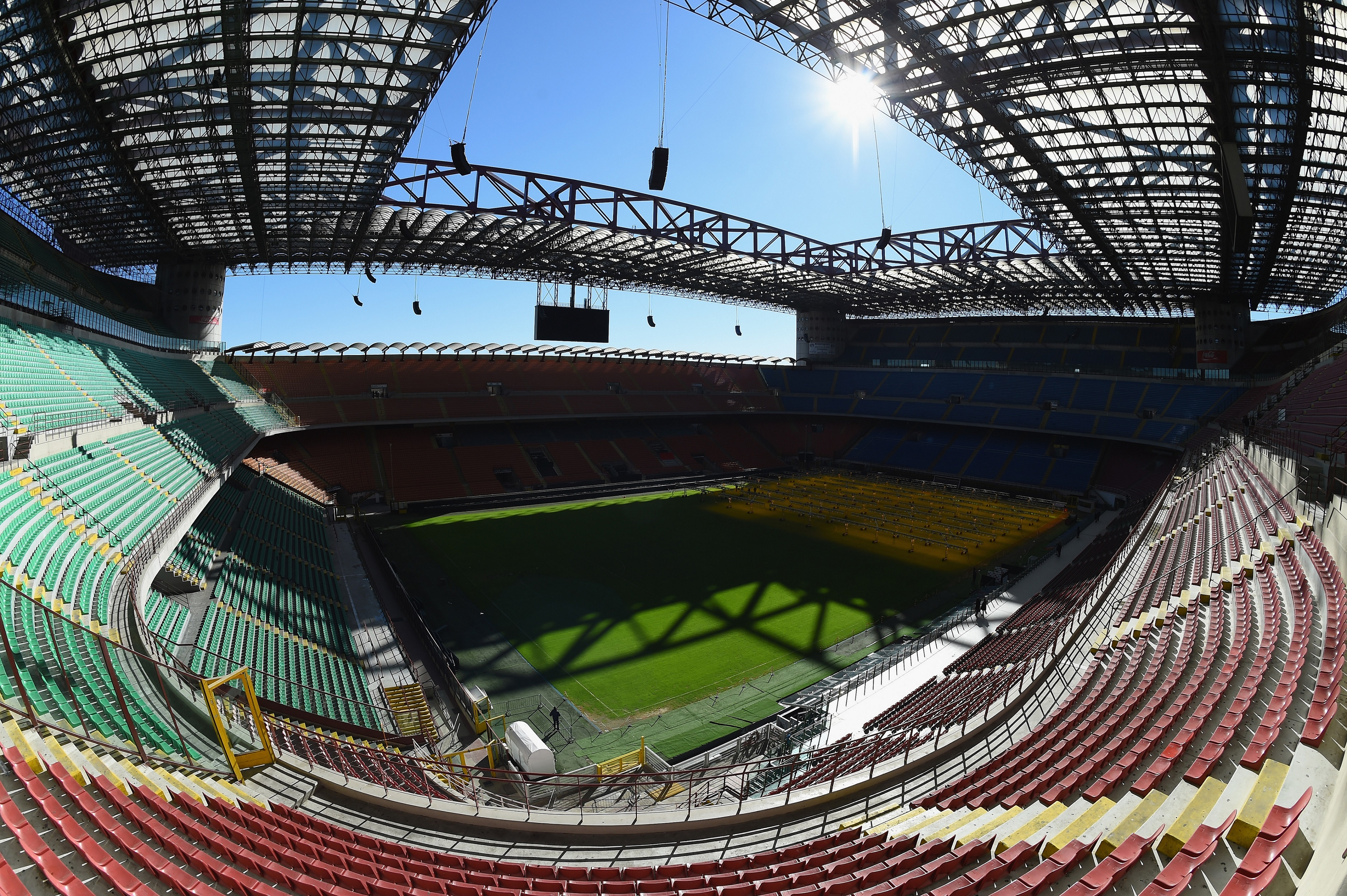 MILAN, ITALY - FEBRUARY 10: A view of the inside of Stadio Giuseppe Meazza venue for the UEFA Champions League Final 2016 on February 10, 2016 in Milan, Italy. (Photo by Shaun Botterill/Getty Images)