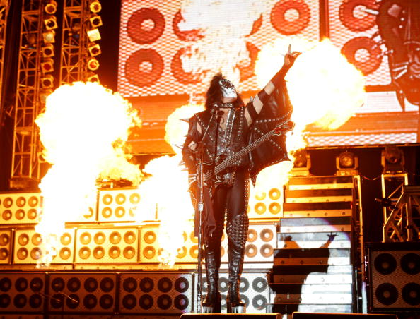 SAN DIEGO, CA - APRIL 1: Gene Simmons of Kiss performs at 'Rockin' The Corps An American Thank You Celebration Concert' at Camp Pendleton on April 1, 2005 in San Diego, California. (Photo by Kevin Winter/Getty Images)