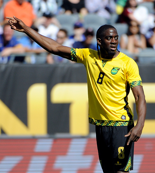 CHICAGO, ILLINOIS, USA - JUNE 05: Clayton Donaldson of Jamaica reacts to a call during a group C match between Jamaica and Venezuela at Soldier Field Stadium as part of Copa America Centenario US 2016 on June 05, 2016 in Chicago, Illinois, US. (Photo by David Banks/LatinContent/Getty Images)