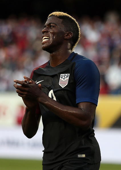 CHICAGO, IL - JUNE 07: Gyasi Zardes of the United States reacts during the Copa America Centenario Group A match between the United States and Costa Rica at Soldier Field on June 7, 2016 in Chicago, Illinois. (Photo by Chris Brunskill Ltd/Getty Images) *** Local caption *** Gyasi Zardes