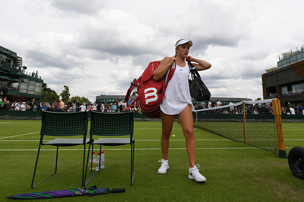LONDON, ENGLAND - JUNE 28: Katie Swan of Great Britain leaves the court during the Ladies Singles first round match against Timea Bacsinszky of Switzerland on day two of the Wimbledon Lawn Tennis Championships at the All England Lawn Tennis and Croquet Club on June 28, 2016 in London, England. (Photo by Shaun Botterill/Getty Images)