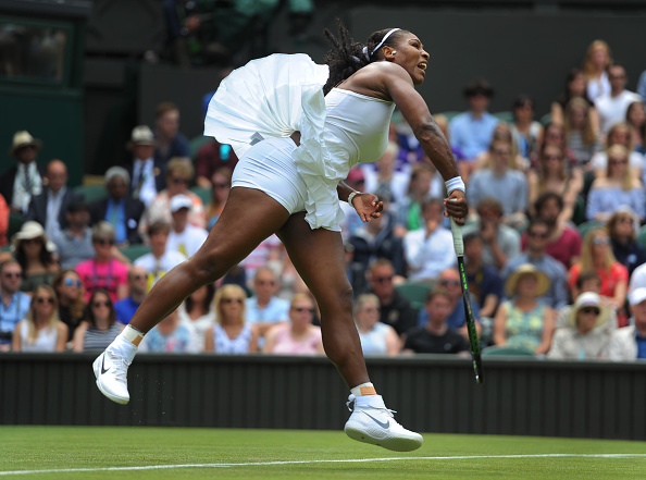 LONDON, ENGLAND - JUNE 28: Serena Williams of USA in action during her first round match against Amra Sadikovic of Switzerland at Wimbledon on June 28, 2016 in London, England. (Photo by Visionhaus/Corbis via Getty Images)