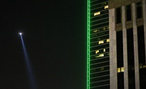 DALLAS, TX - JULY 8: A Dallas police helicopter flies over the scene where eleven Dallas police officers were shot and five have now died on July 7, 2016 in Dallas, Texas. According to reports, shots were fired during a protest being held in downtown Dallas in response to recent fatal shootings of two black men by police - Alton Sterling on July 5, 2016 in Baton Rouge, Louisiana and Philando Castile on July 6, 2016, in Falcon Heights, Minnesota. Ron Jenkins/Getty Images/AFP
