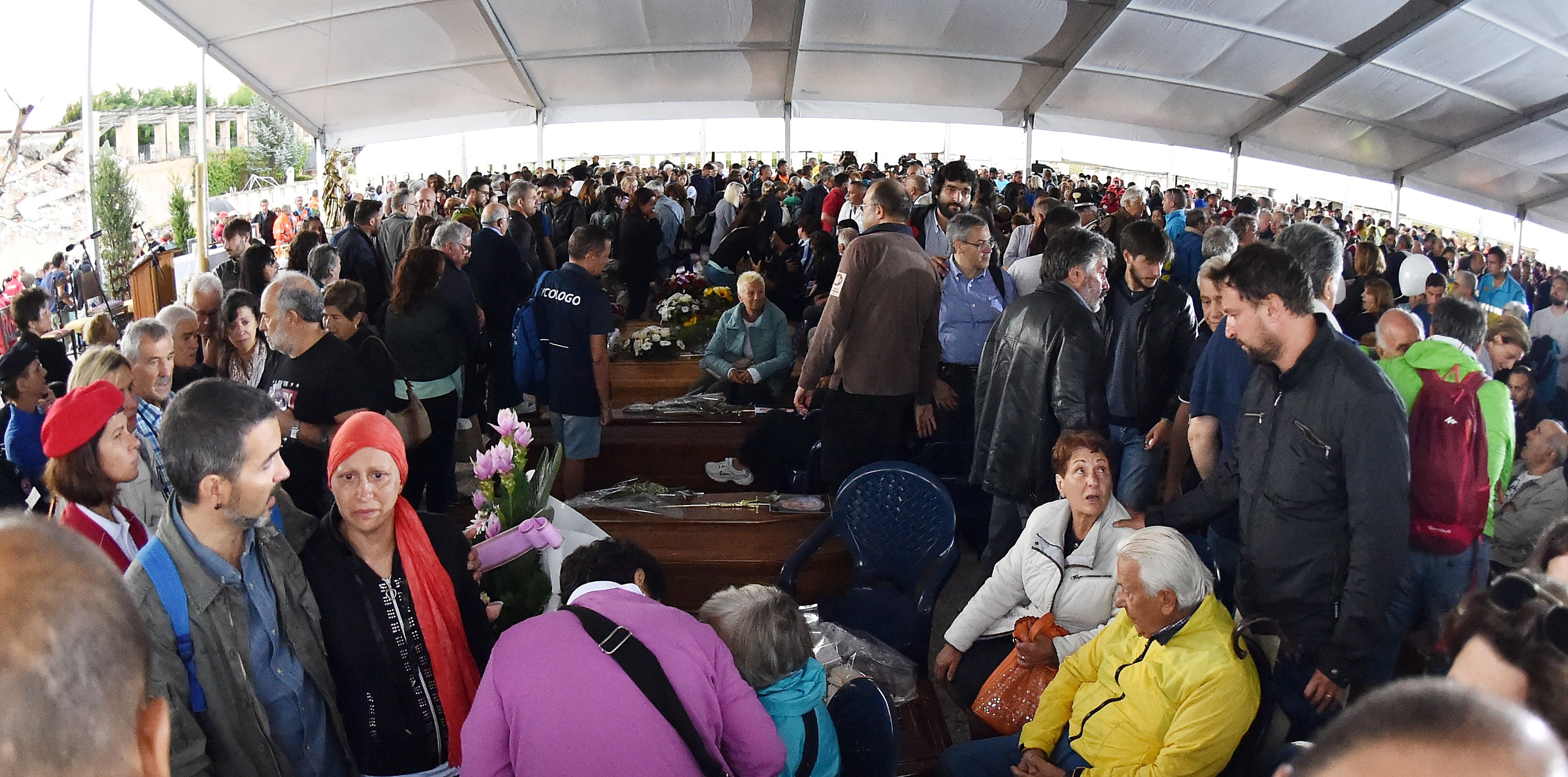 Funeral Held In Amatrice For Earthquake Victims