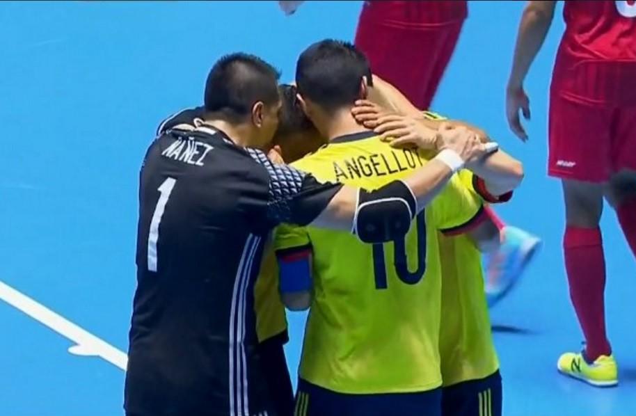 Colombia celebra gol contra Panamá en Mundial de Fútsal