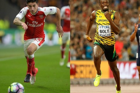 Héctor Bellerín y Usaín Bolt