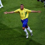 Ronaldo of Brazil celebrates scoring the winning goal