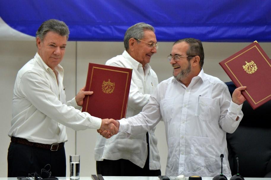 CUBA-COLOMBIA-FARC-PEACE-SANTOS-TIMOCHENKO-CASTRO