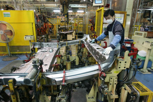 Workers Assemble New Trucks On Hyundai Factory Production Line