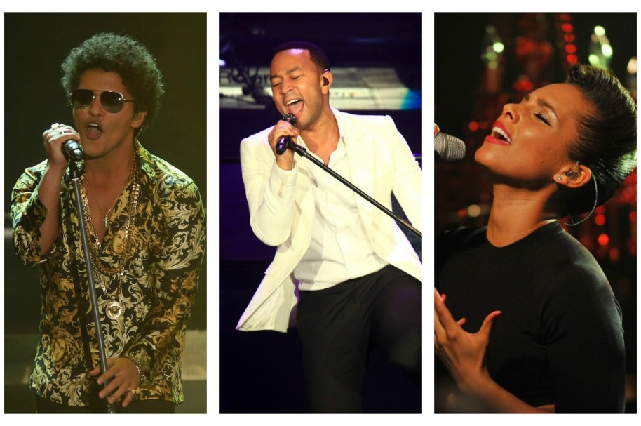 Cantantes Bruno Mars, John Legend y Alicia Keys