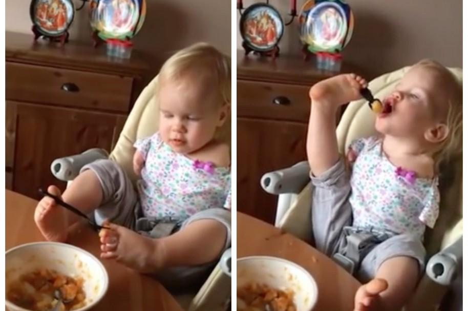 Niña que nació sin brazos come con los pies. Pulzo.com