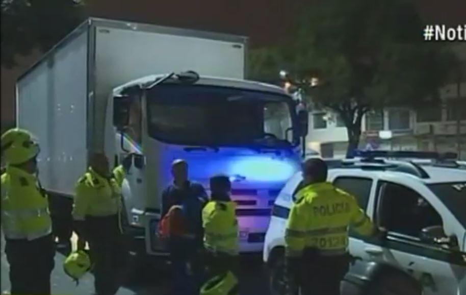 Camión involucrado en el hurto