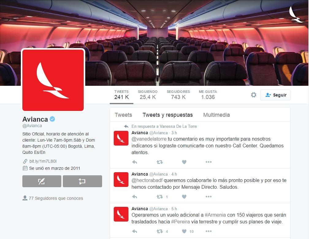Captura de pantalla de la cuenta de Twitter de Avianca