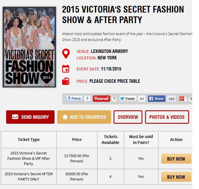 Precios desfile Victoria's Secret 2015