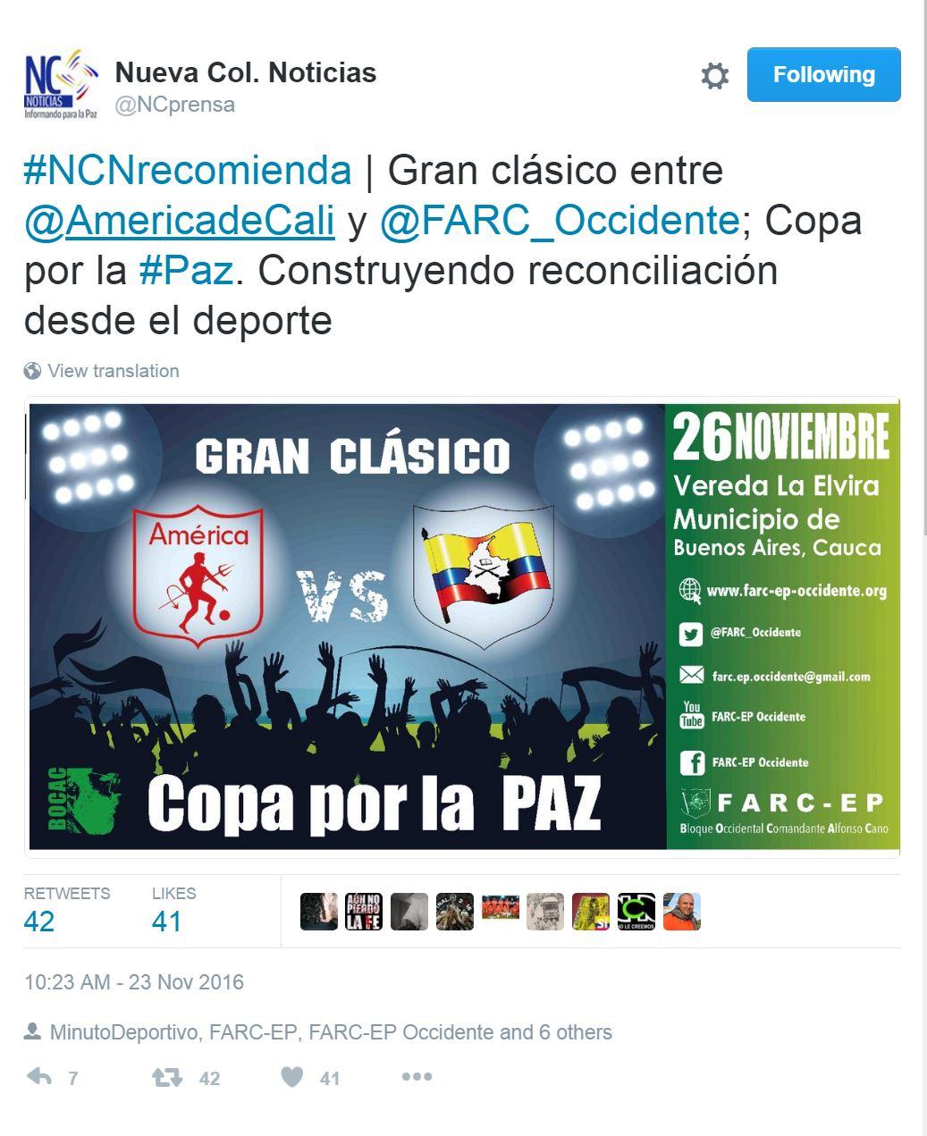 Tuit de NC Noticias