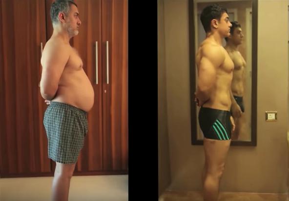 Aamir Khan subió y bajó de peso para 'Dangal'. Pulzo.com