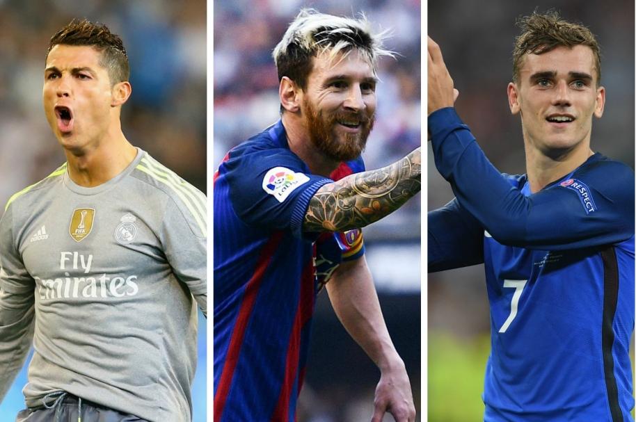 CR7, Messi y Griezmann