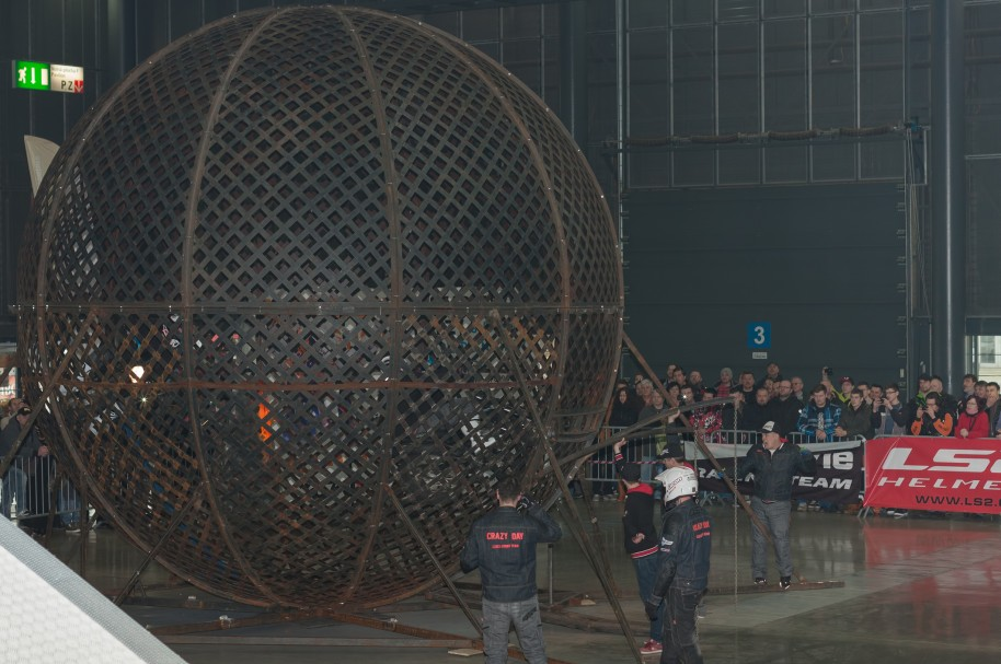 Globe of death, steel cage during stunt show