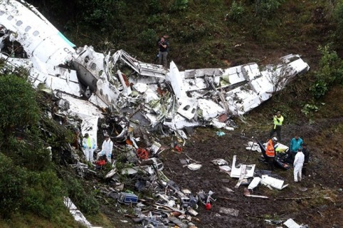 Avión de Lamia accidentado