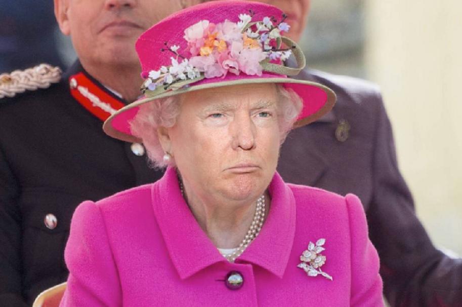 Montaje de Donald Trump con la reina Isabel