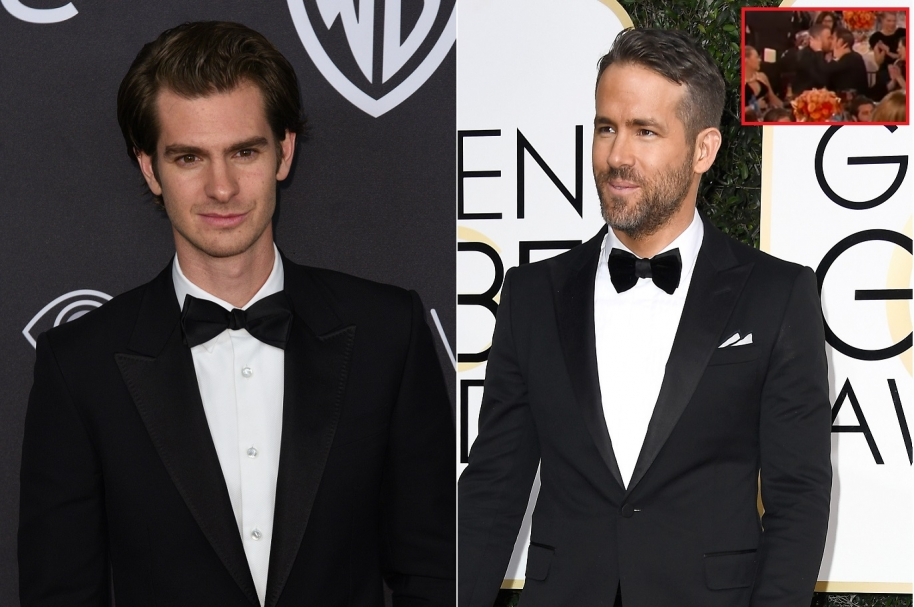 Beso de Ryan Reynolds (Deadpool) y Andrew Garfield (Spiderman) en los Globo de Oro