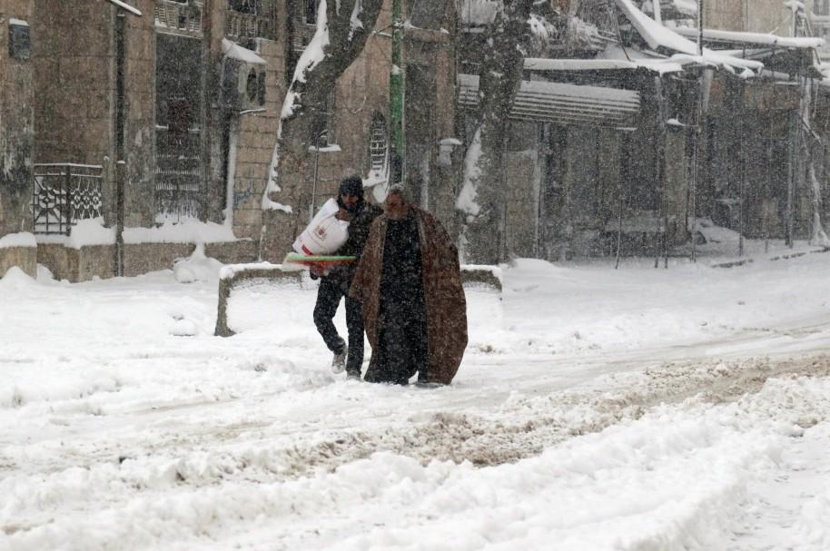 Tormenta de nieve en Siria