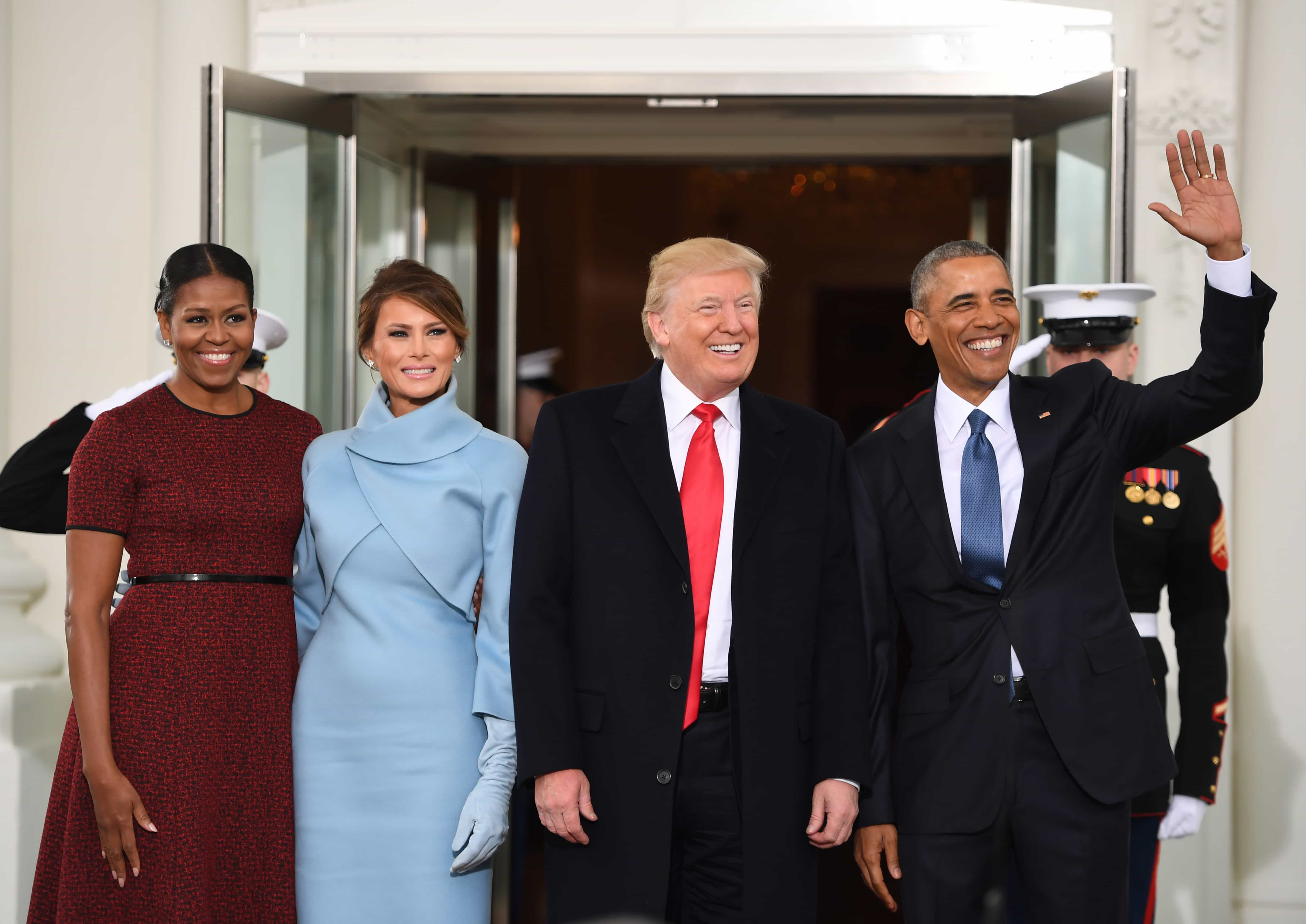 Michelle Obama, Melania Trump, Donald Trump y Barack Obama