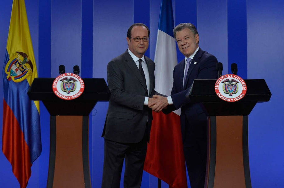 Juan Manuel Santos y Francoise Hollande