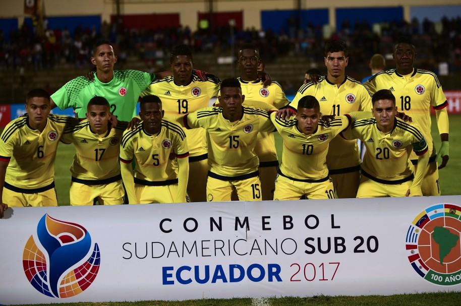 Selección Colombia Sub-20 posa antes del partido vs Brasil