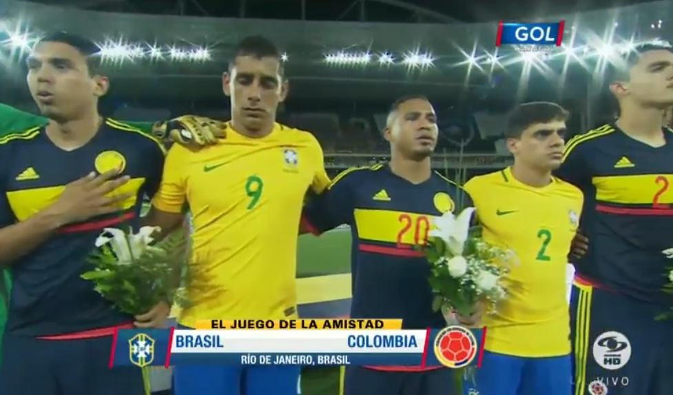 Jugadores Colombia y Brasil