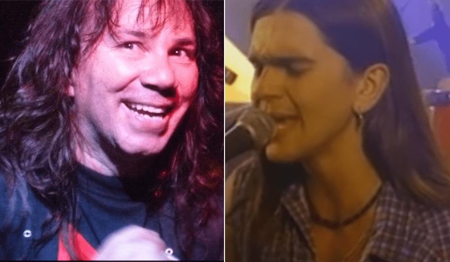 Elkin Ramírez, vocalista y líder de Kraken, y el cantante Juanes cuando estaba en 'Ekhymosis'.