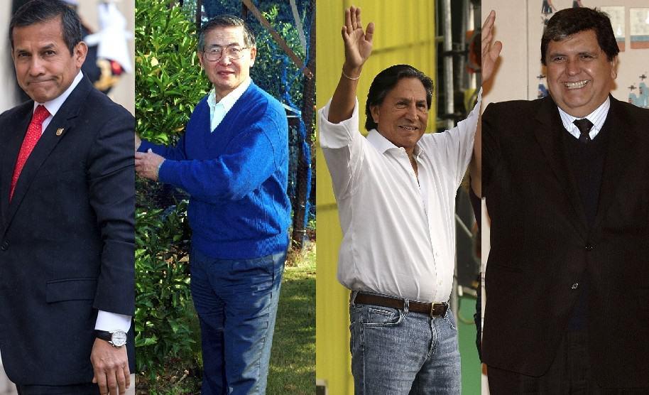 Ollanta Humala, Alberto Fujimori, Alejandro Toledo y Alan García, expresidentes de Perú.