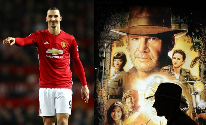 Zlatan Ibrahimovic y afiche Indiana  Jones